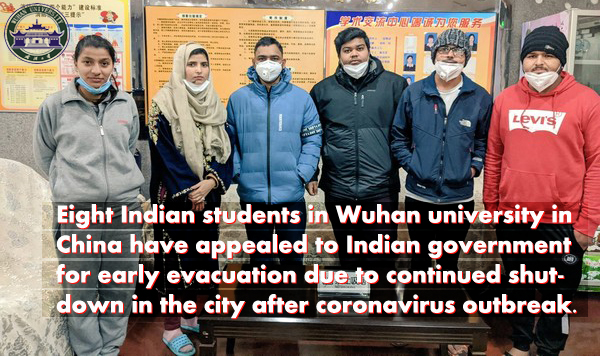 Eight Indian students in Wuhan university
